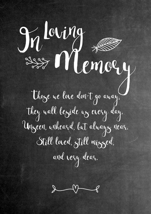 Wedding memorial display example - Kreativkitchen Graphic Design